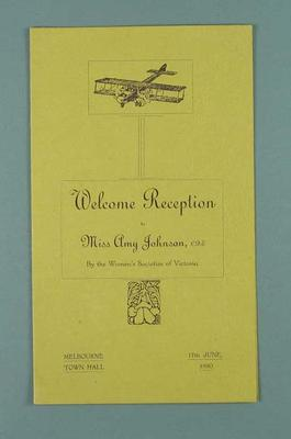 Programme, Welcome Reception for Amy Johnson on 17 June 1930