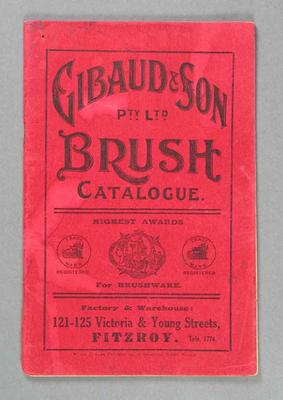 Catalogue - Gibaud & Son Pty. Ltd. - brush manufacturers and suppliers; Documents and books; 1993.2898.23
