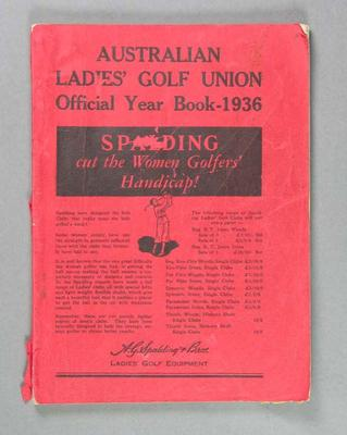 Official Year Book of the Australian Ladies' Golf Union, 1936