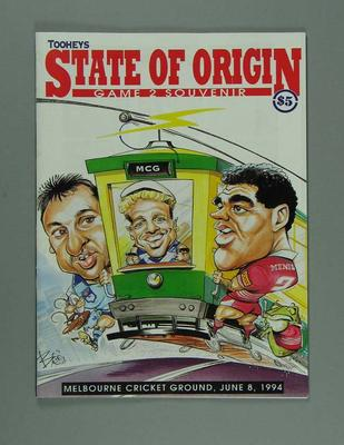 Programme for Rugby League State of Origin match, MCG 8 June 1994