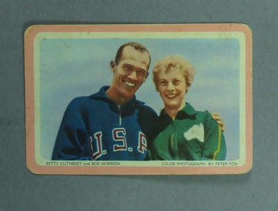 1950s Woolworths Bob Morrow & Betty Cuthbert swap card; Documents and books; 2005.4335.2