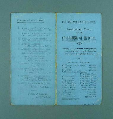 Programme, New Zealand Cricket Council - Australian Tour 1910