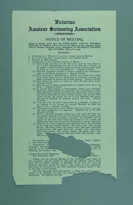 Notice of Victorian Amateur Swimming Association 41st Annual General Meeting, 12 October 1933