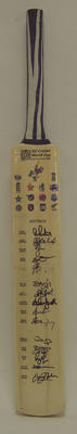 2003 Cricket World Cup commemorative bat, signed by Australian team