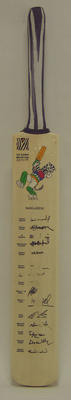 2003 Cricket World Cup commemorative bat, signed by Bangladesh team