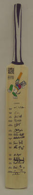 2003 Cricket World Cup commemorative bat, signed by Canadian team