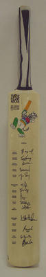 2003 Cricket World Cup commemorative bat, signed by Indian team