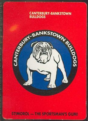 1989 Stimorol Rugby League Canterbury-Bankstown Bulldogs trade card