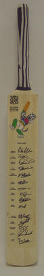 2003 Cricket World Cup commemorative bat, signed by Netherlands team
