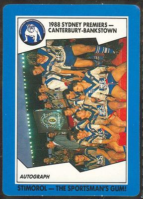 1989 Stimorol Rugby League Canterbury-Bankstown Premiers trade card; Documents and books; 1989.2131.2
