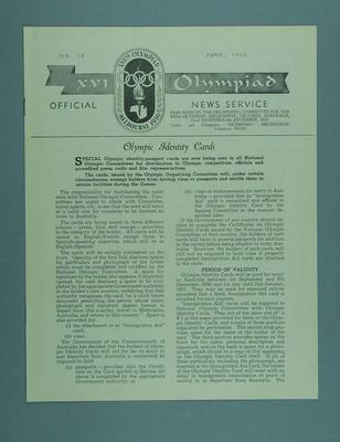 XVI Olympiad Official News Service magazine No.12, June 1956; Documents and books; 1986.1308.83
