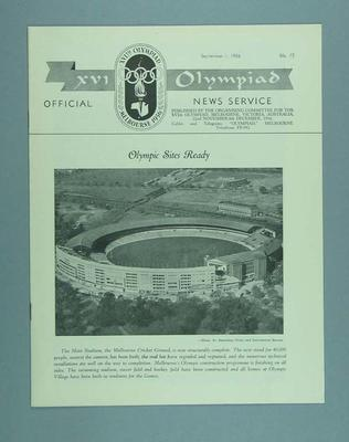XVI Olympiad Official News Service magazine No.13, September 1956; Documents and books; 1986.1308.84