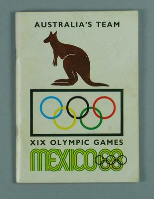 "Booklet, ""Australia's Team: XIX Olympic Games Mexico"""