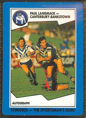1989 Stimorol Rugby League Paul Langmack trade card