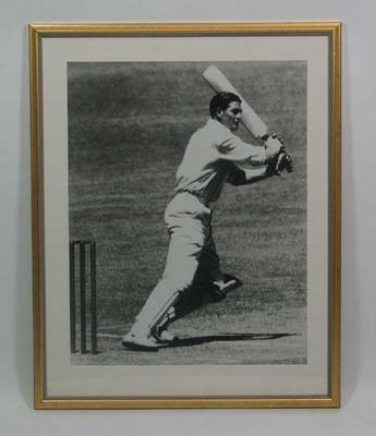 Photograph of Keith Miller batting, 1956; Photography; Framed; 2005.4355