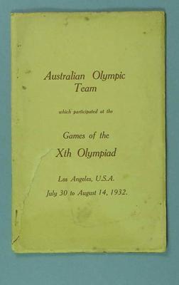 Report of 1932 Australian Olympic Games Team
