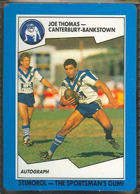 1989 Stimorol Rugby League Joe Thomas trade card