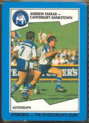 1989 Stimorol Rugby League Andrew Farrar trade card
