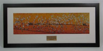 Framed photograph of tapestry commissioned to celebrate the 150th anniversary of the Melbourne Cricket Ground, designed by Robert Ingpen