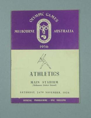 Programme for 1956 Olympic Games track & field events, 24 Nov