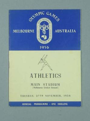 Programme for 1956 Olympic Games track & field events, 27 Nov