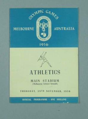 Programme for 1956 Olympic Games track & field events, 29 Nov