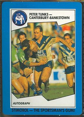1989 Stimorol Rugby League Peter Tunks trade card