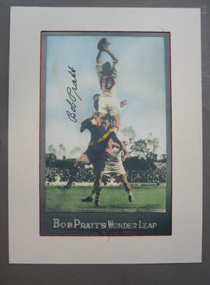 Photograph of South Melbourne footballer Bob Pratt, mounted and autographed; Photography; M15373