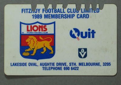 Fitzroy Football Club membership card, 1989