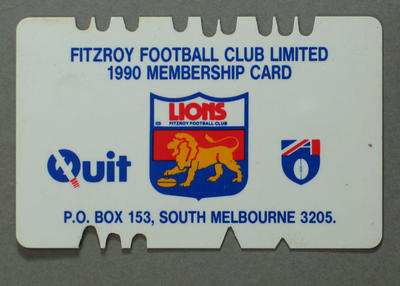 Fitzroy Football Club membership card, 1990