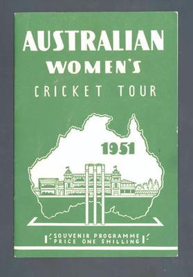 "Booklet, ""Australian Women's Cricket Tour 1951"""