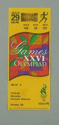 Ticket for 1996 Atlanta Olympic Games athletic events, 29 July; Documents and books; 1996.3207.2