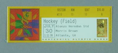 Ticket for 1996 Atlanta Olympic Games field hockey match, 30 July; Documents and books; 1996.3207.3