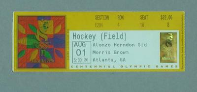 Ticket for 1996 Atlanta Olympic Games field hockey match, 1 August; Documents and books; 1996.3207.4