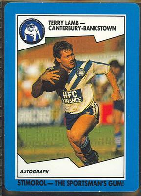 1989 Stimorol Rugby League Terry Lamb trade card