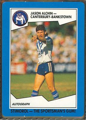 1989 Stimorol Rugby League Jason Alchin trade card; Documents and books; 1989.2131.9