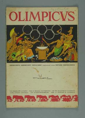 Autograph book, 1960 Rome Olympic Games