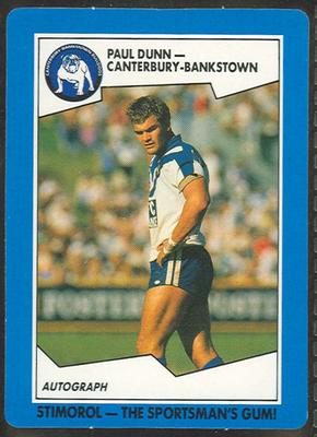 1989 Stimorol Rugby League Paul Dunn trade card