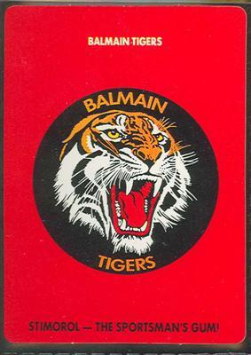 1989 Stimorol Rugby League Balmain Tigers trade card