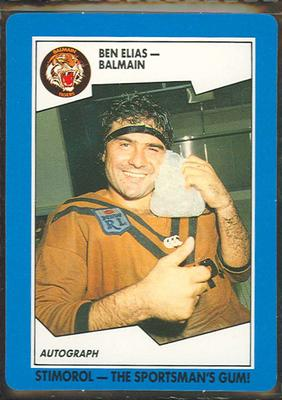 1989 Stimorol Rugby League Ben Elias trade card