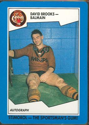 1989 Stimorol Rugby League David Brooks trade card; Documents and books; 1989.2131.17