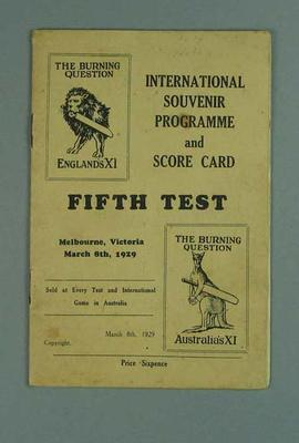 Booklet, Programme & Score Card - Fifth Test, Melbourne 8 March 1929