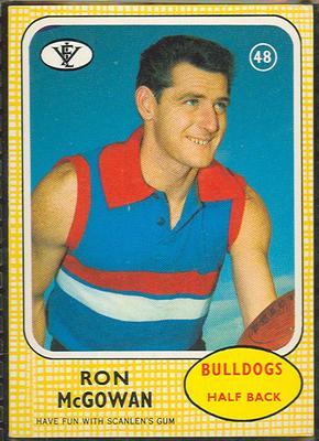 1972 Scanlens VFL Football Ron McGowan trade card