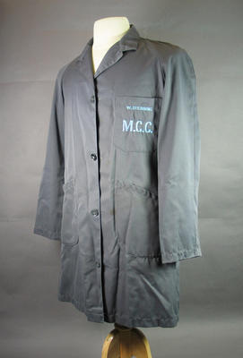 Melbourne Cricket Club dustcoat issued to W. Stebbing