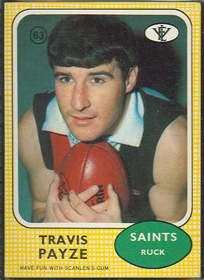 1972 Scanlens VFL Football Travis Payze trade card