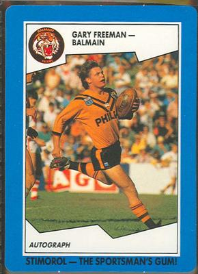 1989 Stimorol Rugby League Gary Freeman trade card; Documents and books; 1989.2131.18