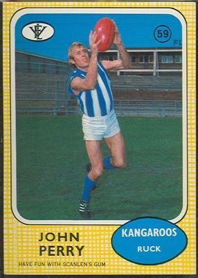 1972 Scanlens VFL Football John Perry trade card