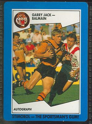 1989 Stimorol Rugby League Garry Jack trade card; Documents and books; 1989.2131.19