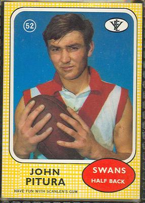 1972 Scanlens VFL Football John Pitura trade card; Documents and books; 1986.6.85