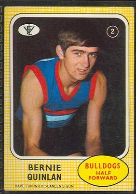 1972 Scanlens VFL Football Bernie Quinlan trade card